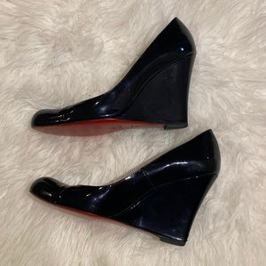 Christian Louboutin Shoes - Louboutin patent leather wedge heels
